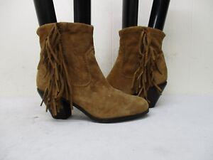 1d953965b Sam Edelman Louie Brown Suede Leather Fringe Zip Ankle Cowboy Boots ...