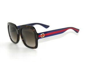 c2a4c680c5a Image is loading Gucci-GG0036S-004-Havana-Brown-Blue-Glitter-Red-