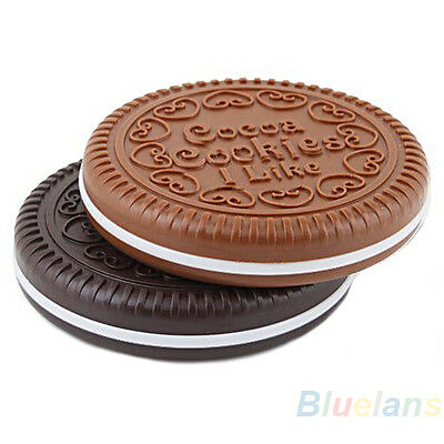 Korean Cute Cookie Shaped Design Mirror Makeup Cosmetic Tool Chocolate Comb BE4A