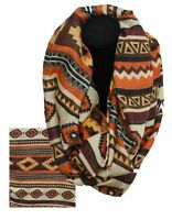 Orange Infinity Woven Scarf With Navajo Design Brand Western Wear