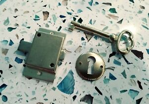 Details about Cabinet Lock Set Surface Mount Lock, Key, Escutcheon Plate  Keyhole Door Drawer