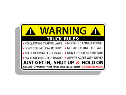 Truck Safety Warning Rules Sticker Adhesive OEM Vinyl Visor Window Bumper Decal