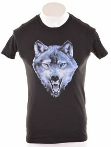 Diesel-Damen-Graphic-T-Shirt-Top-Groesse-16-gross-schwarz-Baumwolle-kk01