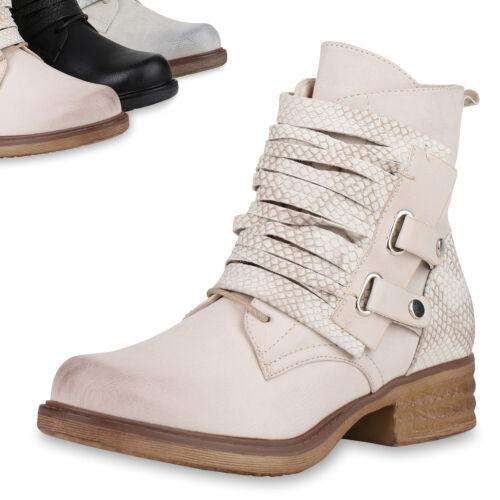 Damen Stiefeletten Biker Boots Prints Stiefel Schuhe 813284 Top