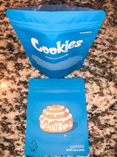 New Cookies Sticky Buns 3.5g mylar sealable bags Labels Stickers Same day ship