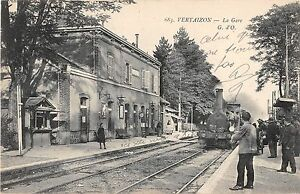 CPA-63-VERTAIZON-LA-GARE-TRAIN-EN-GARE