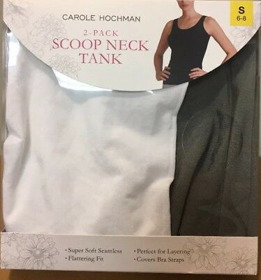 Carole Hochman Ladies' 2-pack Scoop Neck Tank Top White//Grey Size Small