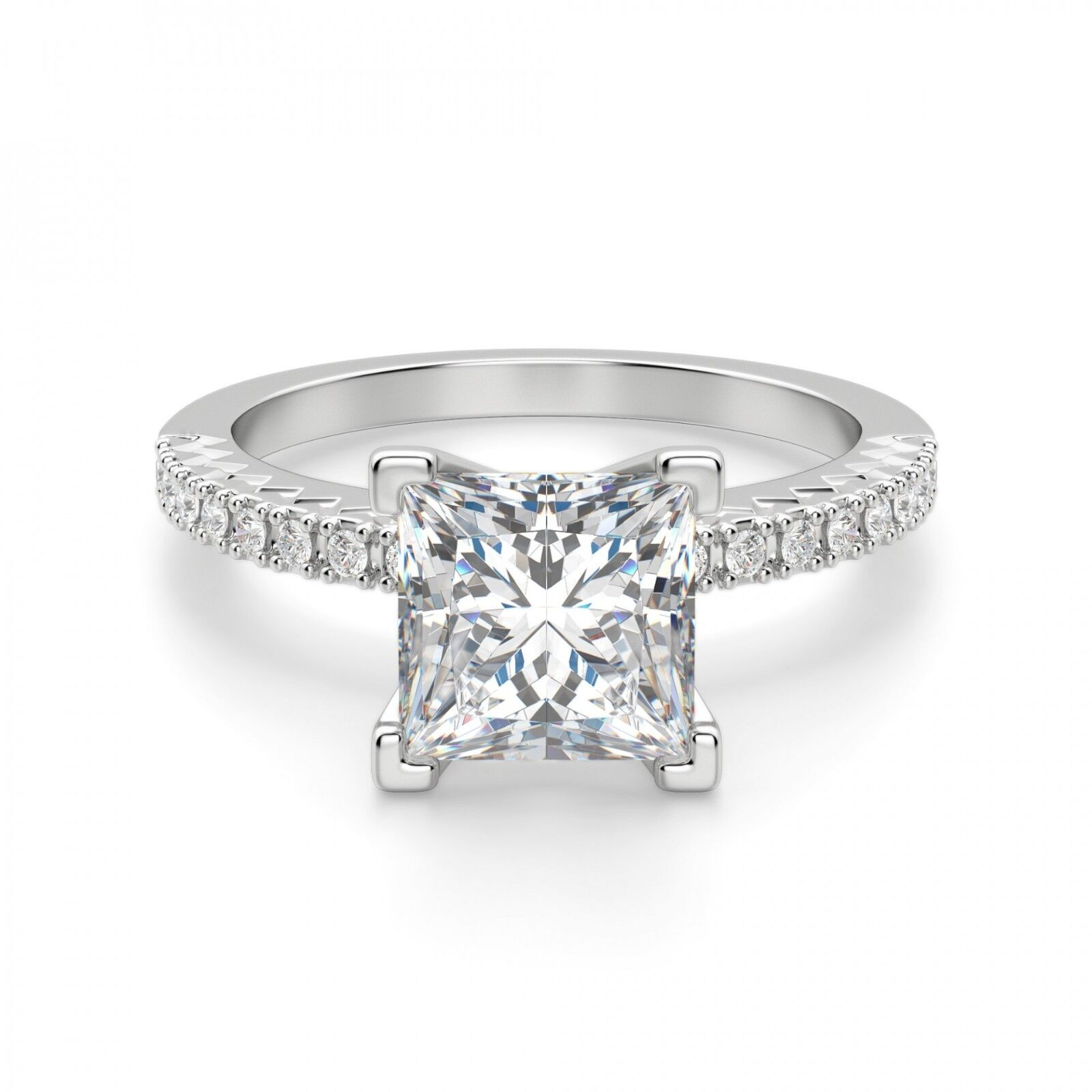 2.30 Ct Princess Cut Diamond Engagement Ring 14K Solid White gold Rings Size 5 6