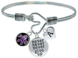 Image Is Loading Custom Pancreatic Cancer Awareness Never Give Up Bracelet