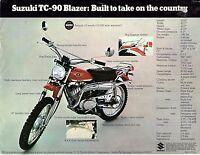 1970 Suzuki Tc-90 Blazer Motorcycle Sales Brochure/flyer (reprint) $5.00
