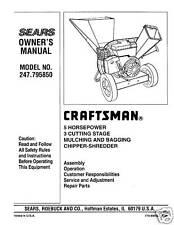 987.799601 Craftsman Chipper Vac Operator Maint Manual Model No