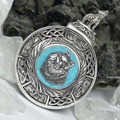 Peter Stone groß keltischer Wolf Amulett 925Silber Rarität Talisman echt Türkis