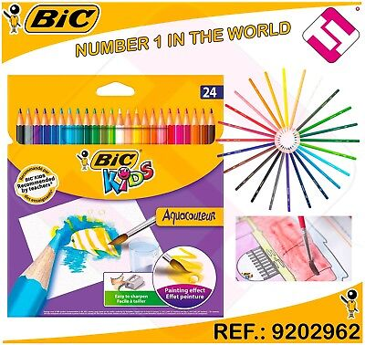 PACK BLISTER 24 LAPICES BIC KIDS EFECTO PINTURA AQUARELA ACUARELABLE PROFESIONAL