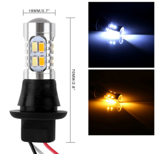 2X 1156 BA15S 35W 20SMD DRL Turn Signals Tail Reverse LED Light White//Amber US