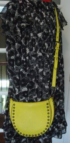 Stunning REBECCA MINKOFF Bright Yellow Studded Lea