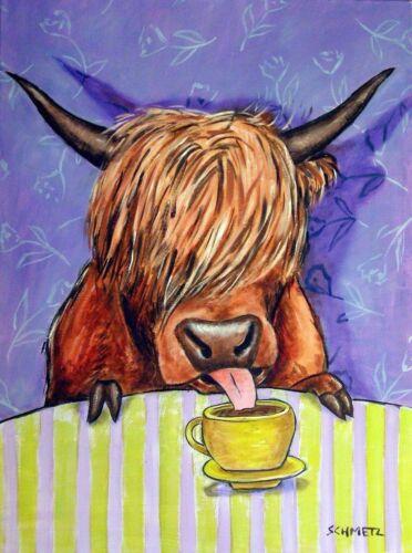 SCOTTISH HIGHLAND COW COFFEE 13x19  art PRINT glossy animals new