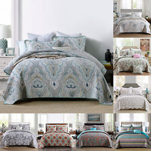 3 Pcs Cotton Bedspread Coverlet Set Printed Quilt Oversized Bed Cover Queen/King