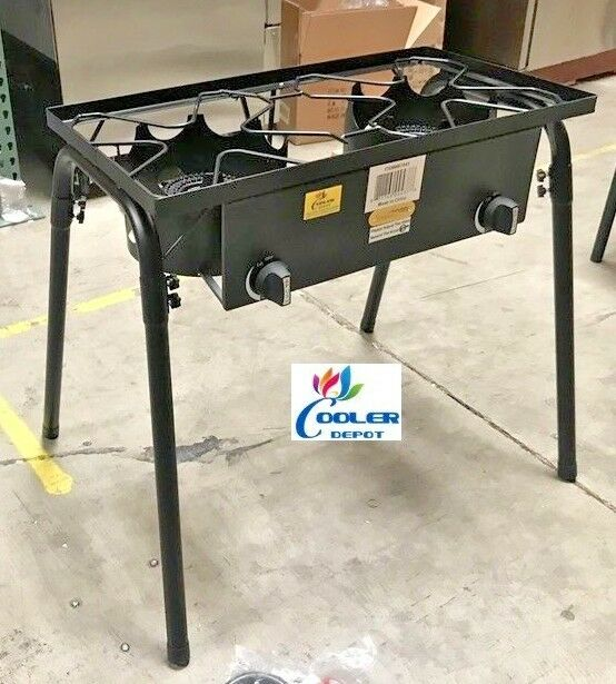 New Double 2 Burner Outdoor Stove Square Shape Propane Camping Catering Use