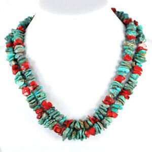 Turquoise and Red Coral Sterling Sliver Necklace