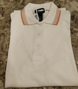 New-IZOD-Golf-Polo-X-Small-Ladies-White-with-Orange-Trim-with-matching-socks