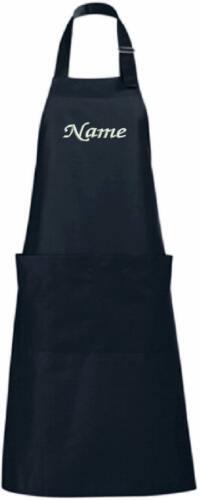 Schürze BESTICKT mit Namen Küchenschürze mit Latz Grill Kochschürze Garten lang