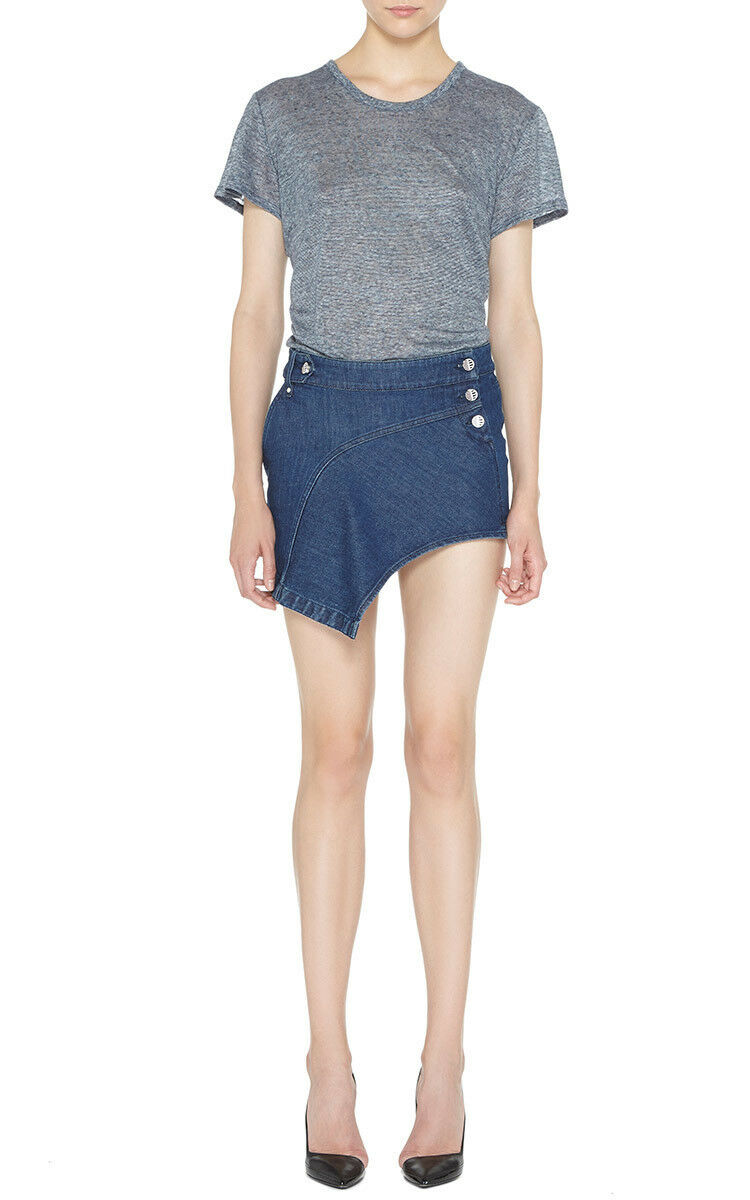 ANTHONY VACCARELLO asymmetric bluee denim jean short mini skirt 40-F 8-US NEW