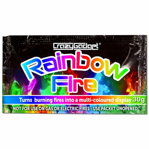 CrazyGadget® Rainbow Magic Coloured Flames Bonfire Sachets Fireplace Pit Patio