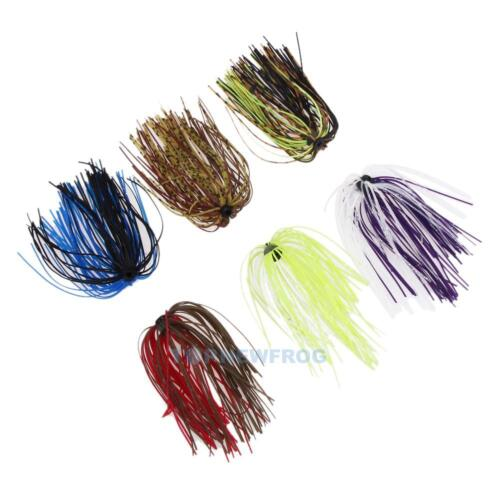 6 Bundles Silicone Skirts Salty Rubber Jig Lures Squid Fishing Bait 50 Strands