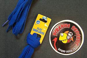 Royal-Blue-Thin-Flat-54-034-x-3-8-034-5-8-034-JN-Shoelaces-Shoe-Strings-Piranha-Records