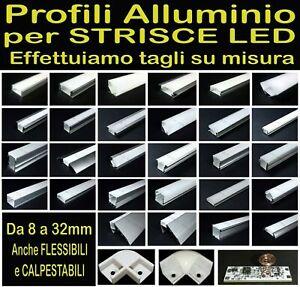 PROFILO ALLUMINIO LED 1- 2 METRI LINEARE RETTANGOLARE STRISCIA LED + TAPPI+Ganci