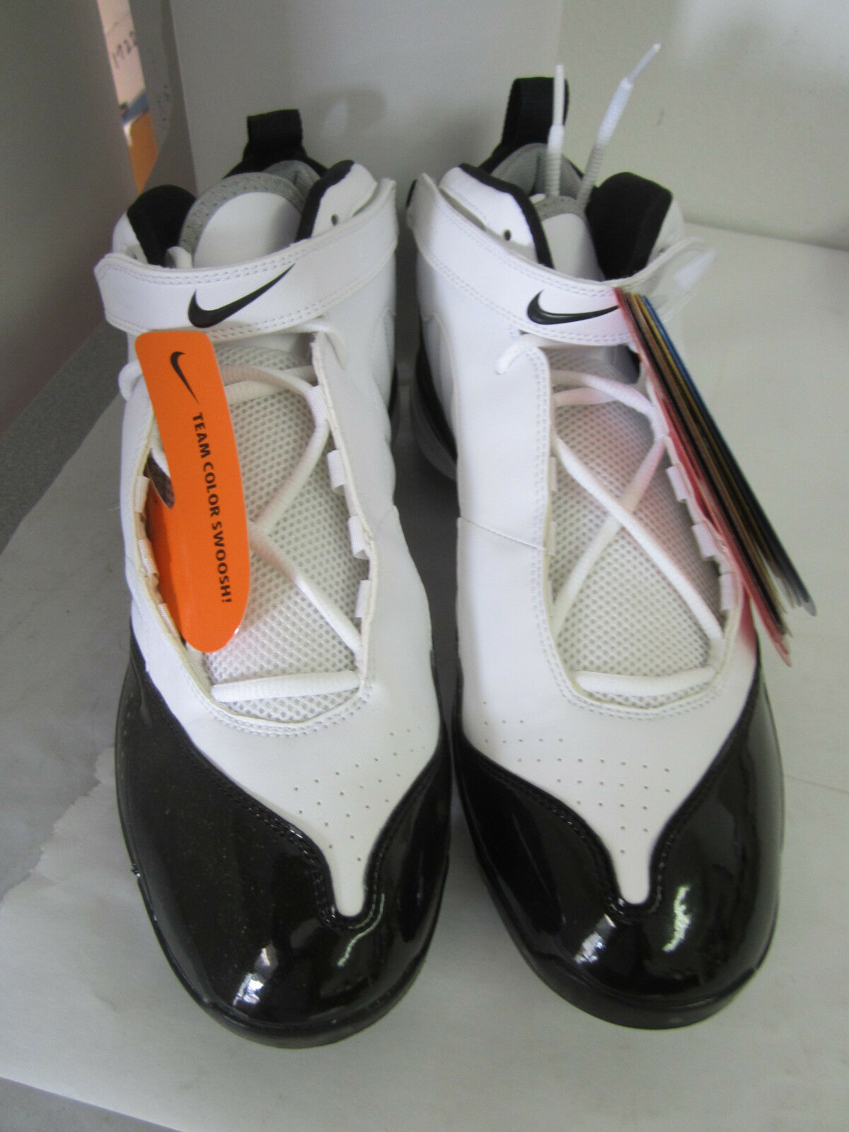 New Mens's Nike Air LT-D Football Cleat, White/Black - No Tool