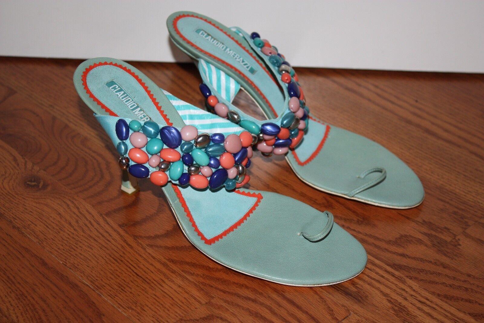 donna  579 Claudio Merazzi Beaded Turquoise blu Slides Heels Dimensione 41