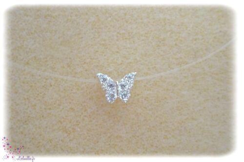 Collier Petit Papillon Strass en Argent 925 Fil Nylon transparent ras du cou
