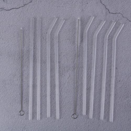 5Pcs Transparent Glass Straight Bend Straws Cleaning Brush Beverage Drinks B/_sh
