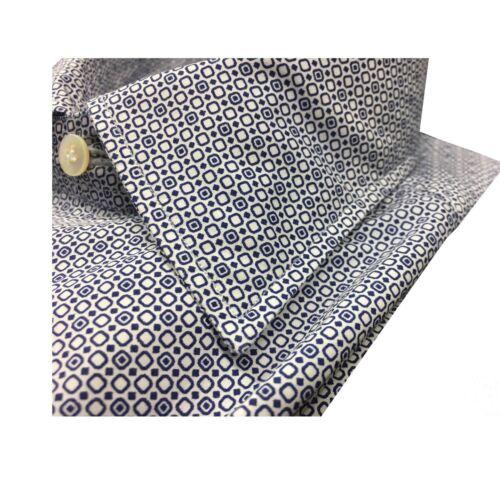 100 Bianco Napoli Cotone Fantasia Slim blu Camicia Uomo In Made Borriello Italy RqWg4A