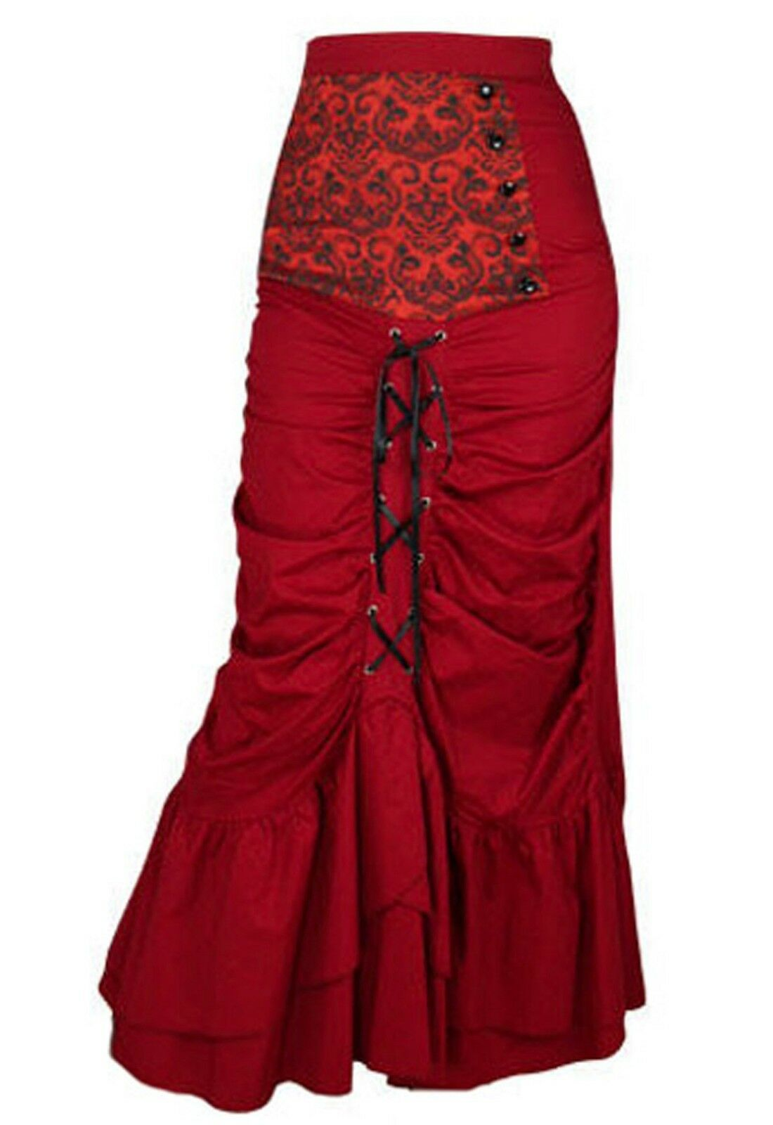 6 8 – 20 GOTHIC VICTORIAN SALOON WENCH RED CORSET LONG TIERED GYPSY BUSTLE SKIRT