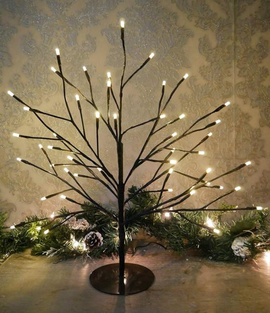 Pre Lit Christmas Twig Tree: 45cm Rustic Shabby Chic Birch Twig Christmas Tree Pre-lit
