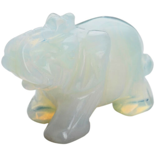 Hand Carved Opal Aventurine Jade Stone Craving Lucky Elephant Feng Shui Statue