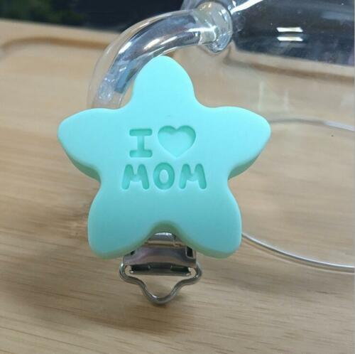 Food grade Silicone Star Baby Pacifier Clip Baby Teething Chew Dummy Clips Cases