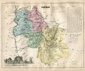 Genuine Original 1877 France Hand Colored Map - ISERE
