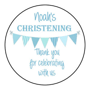 Party Bags Party Bag Supplies 24 Personalised LARGE Christening Baptism Stickers Sweet Cone Labels  63mm