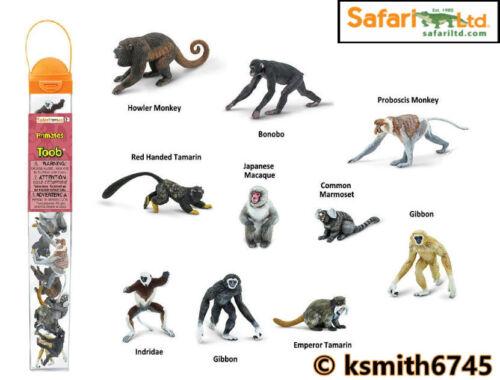 Safari Primate Toob in plastica giocattolo Wild Zoo Animale TUBO Fascio di 10 Scimmia NUOVO