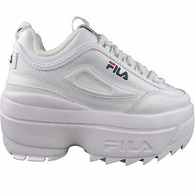 Fila Women's Disruptor II 2 Wedge White Navy Red Casual Platform Shoes   eBay