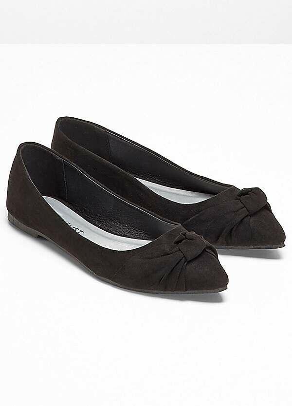 Bodyflirt Black Decorative Pointed Toe Knot Ballerinas - Size 5 - BNIP