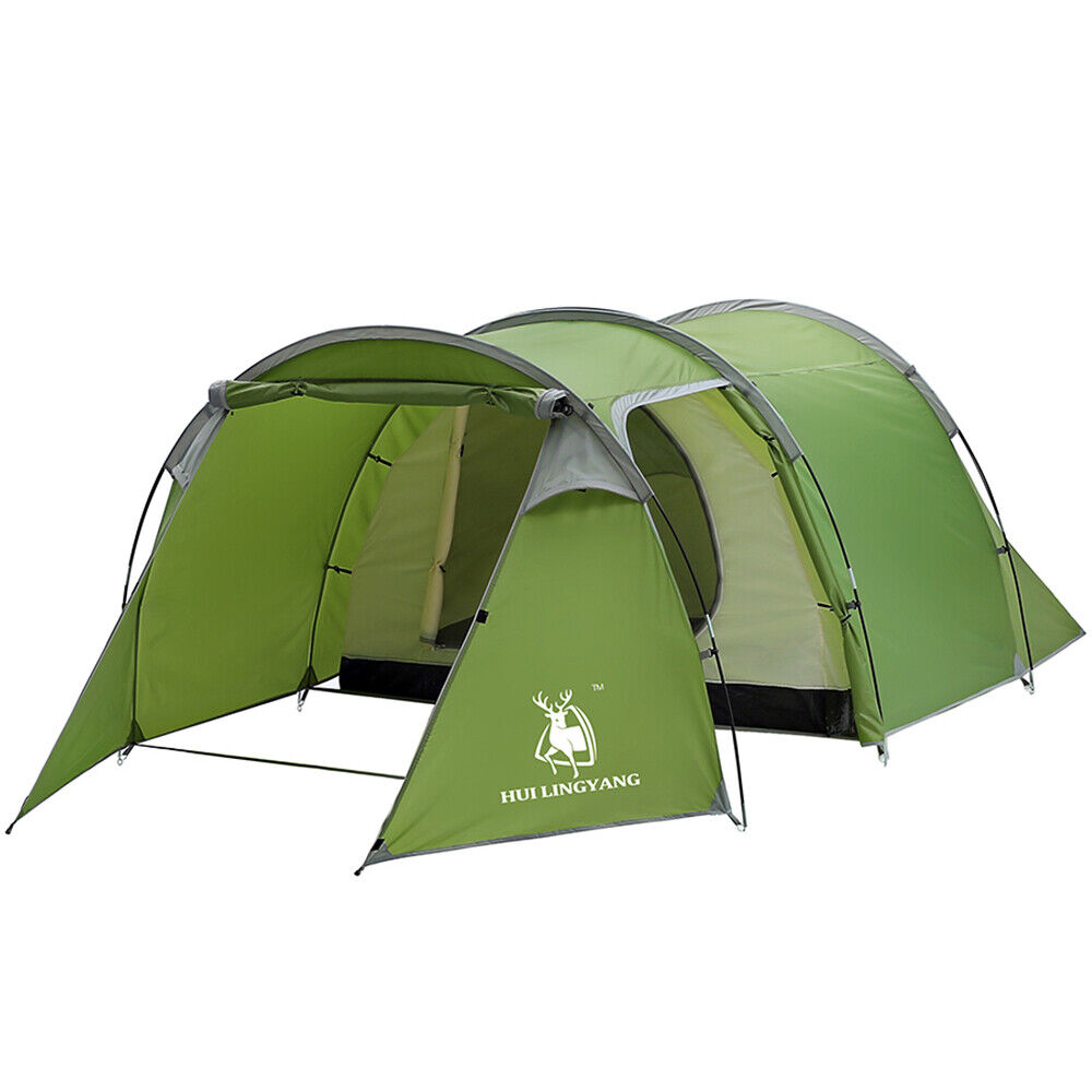 Large Outdoor Camping Hiking Tent 5-6  Person 2-Room Cabin Tunnel Waterproof USA  leisure