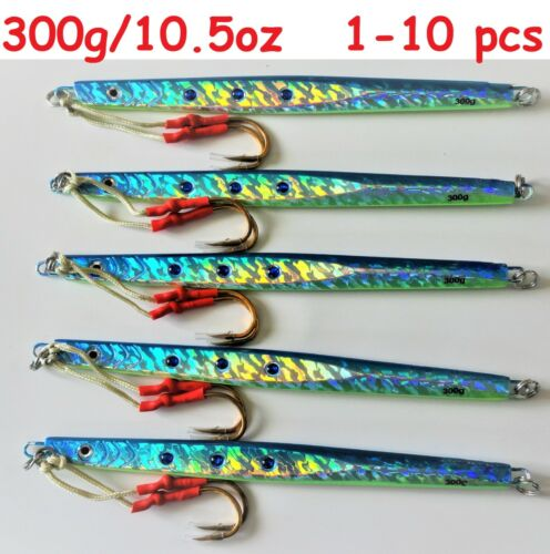 1-10 pcs 300g //10.5oz Blue Vertical Speed Butterfly Jigs Saltwater Fish Lures