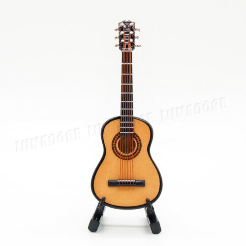 1:12 Guitar Miniature Wooden Musical Instrument Music Dollhouse Toy Decor Gift