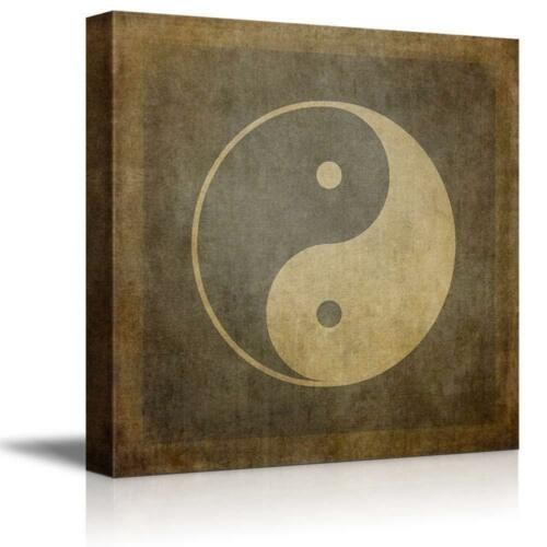 "24/"" x 24/"" CVS Yin Yang Symbol on Vintage Textured Background"