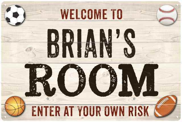 BRIAN'S Room Kids Bedroom Sign Boy's Personalized Metal 108120090064