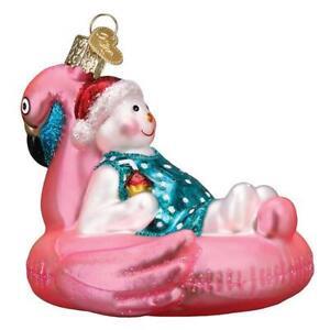Old World Christmas POOL FLOAT SNOWMAN (24205)N Glass Ornament w/ OWC Box